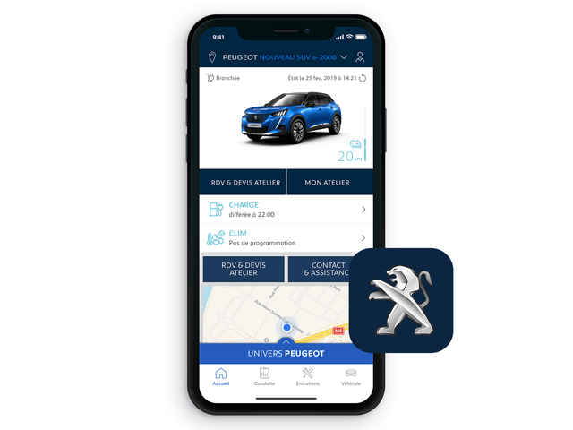 Das neue Elektroauto PEUGEOT e-2008 – MYPEUGEOT® App